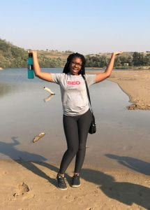 Diversity Outreach Intern Jahnay Bryan '23 poses while on a trip to South Africa