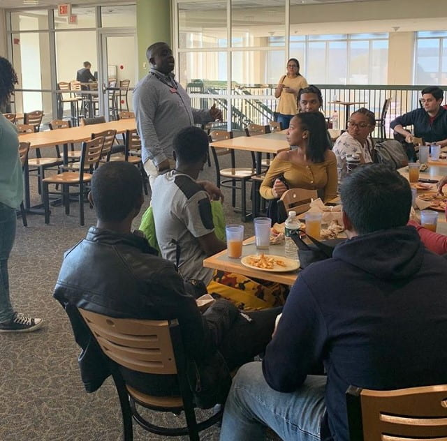 Richard Onyejuruwa, Assistant Director for Diversity Outreach, meets with visiting prospective students.