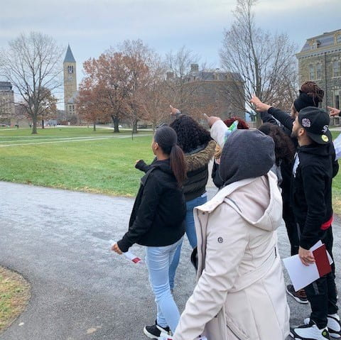 Diversity Outreach tour guides show prospective students our beautiful campus… and clock tower!