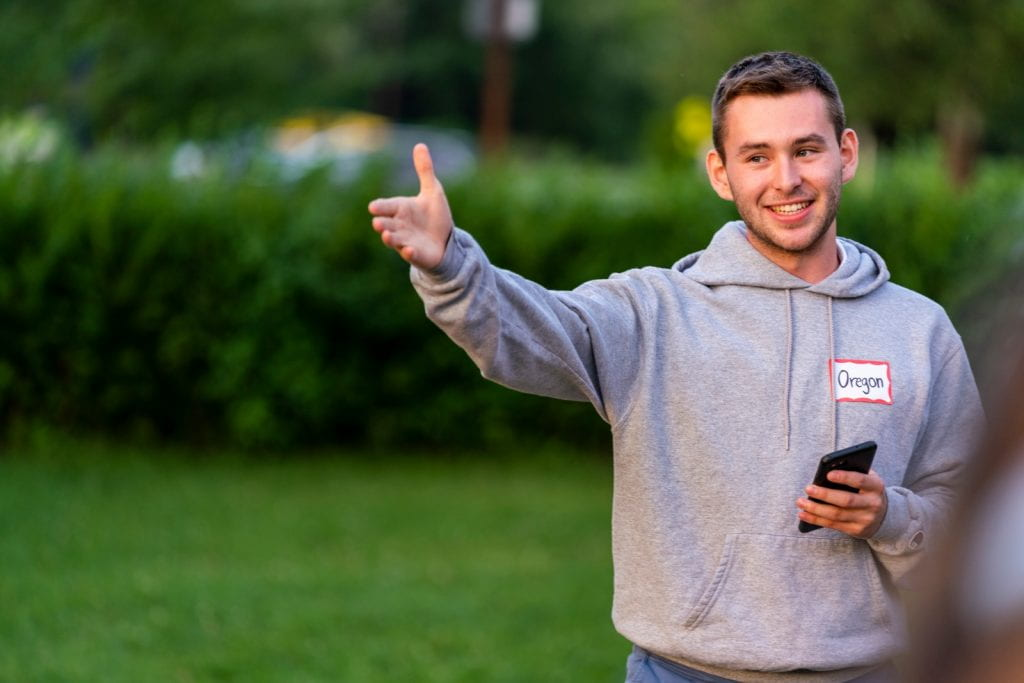 A candid shot of intern Mason Muir at POST (Pre-orientation Service Trip)