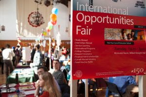 A sign for the International Opportunities Fair