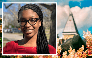 A photo of student intern Jahnay over a photo of the Cornell tower.