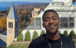A header image showing Brendon, a student intern, and the Cornell clock tower
