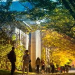 Students walk through the Arts Quad.