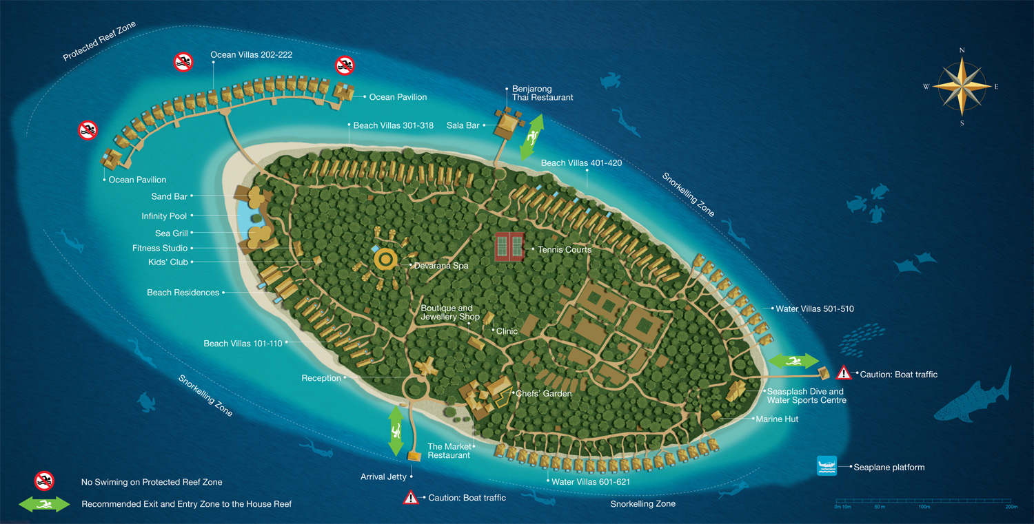 A Typical Layout Plan Of Resort Island In The Maldives