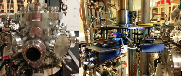 Figure 2. (left) The sputtering chamber used to deposit the combinatorial libraries. (right) The sample holders inside the chamber that allow deposition of 3 different films at one time.