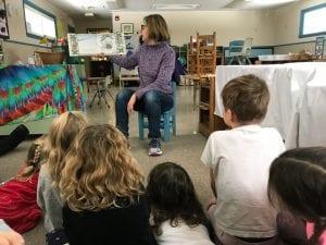 Teacher reads picture book to children.