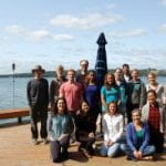Clark lab members on deck of retreat house, Fall 2017
