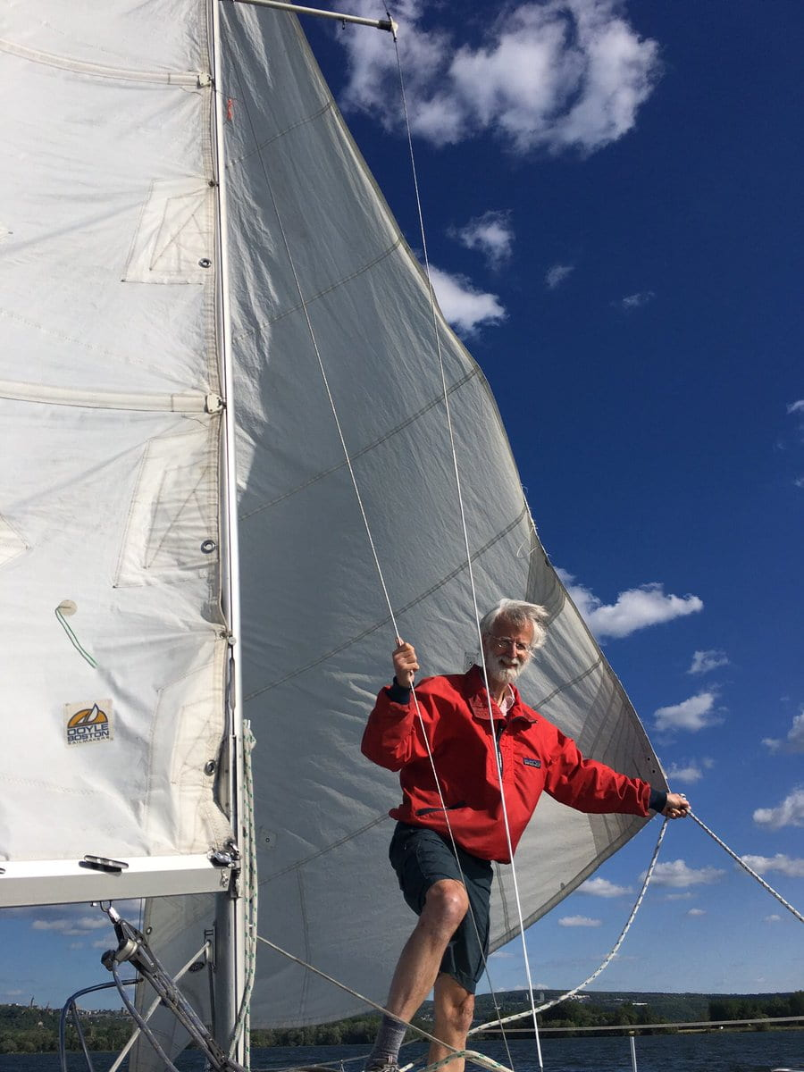 Andy Clark on his Sailboat