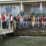 Clark lab members in front of retreat lake house, Fall 2018