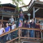 Clark lab members on retreat house deck, Fall 2016