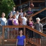 Clark lab members on deck in front of retreat house, Fall 2016