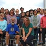 Clark lab group at retreat 2019 trying to pose for photo
