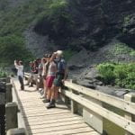 Clark lab members viewing Taughannock Falls from observation deck