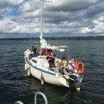 Clark lab members in sailboat