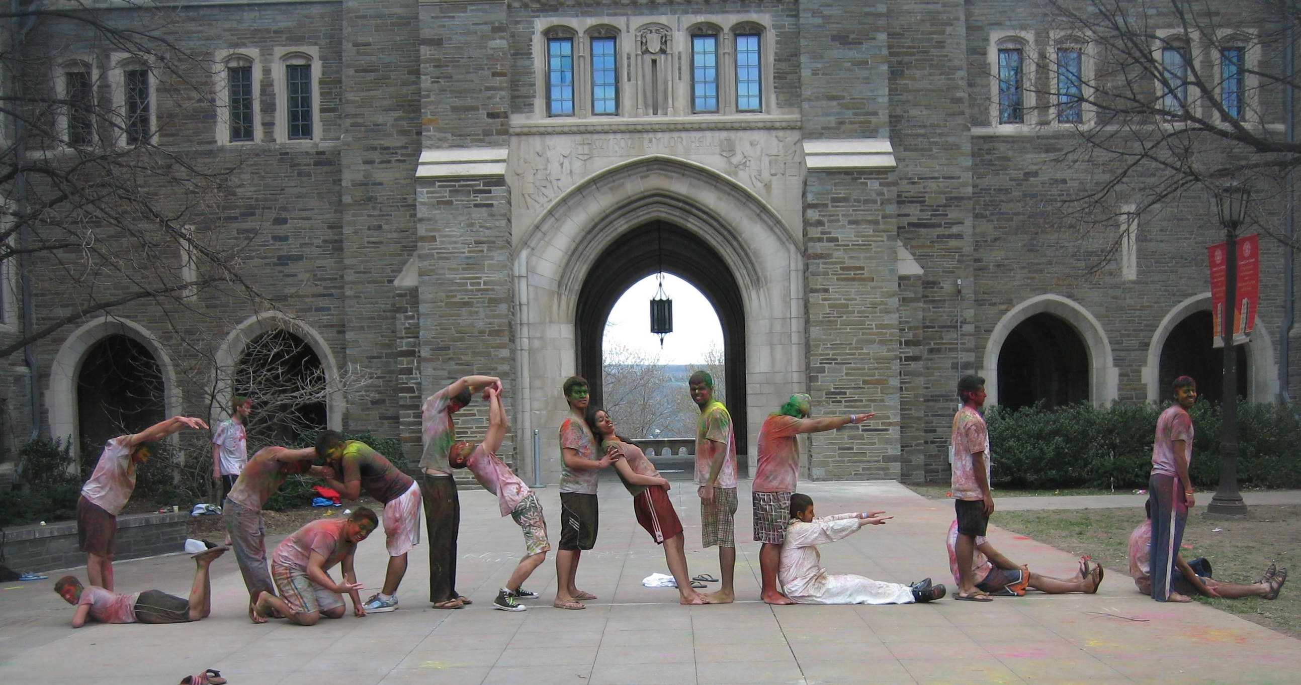 Students Spelling Out Cornell in the Courtyard
