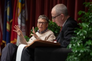 Bill Gates talks to President David Skorton.