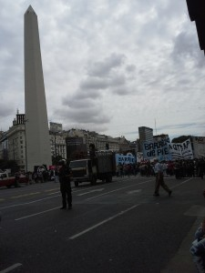 Protest at El Obelisco, a monument located in the middle of the world's widest avenue, July 9 Street