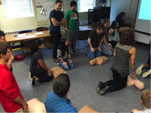 New CUEMS members becoming CPR certified.