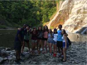 Dylan Van Duyne '18 (me!), Kelly Albanir '15 and their team of freshman students during POST (pre-orientation service trips) enjoy Ithaca Falls