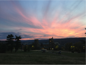 An October sunset over West Campus