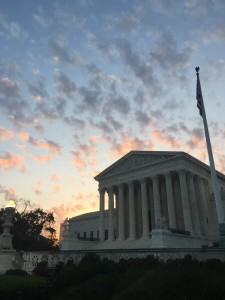 A view of the beautiful sunrise behind the Supreme Court Building.