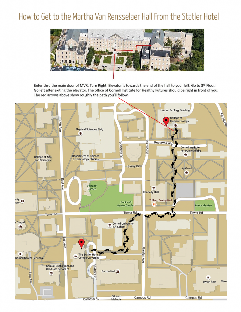 map of route from Statler Hotel to Martha van Rensselaer Hall