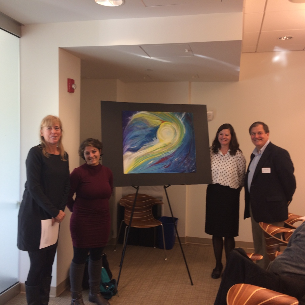 Painting of a yellow-whitish, wispy, round figure, called Morning Light, by Mane Mehrabyan, Daniel Villegas Cruz, and Hanna Dorpfeld, submitted for the CIHF art competition