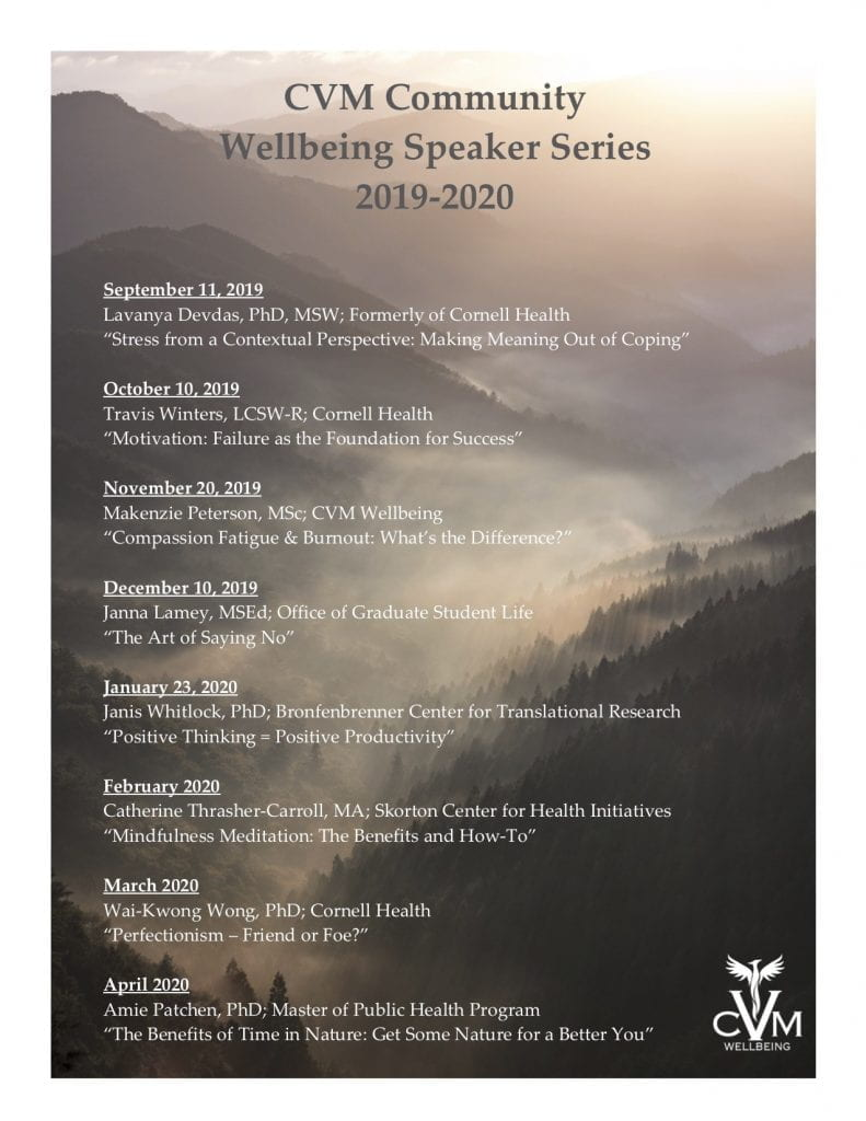 CVM Community Wellbeing Speaker Series Schedule