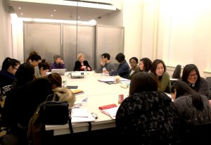 BFA students in their Professional Practice class with professor Jane Farver