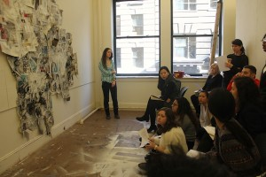 """Emily Teall's large scale painting and collage piece, """"Bombshell Beauty."""" photo: Danni Shen"""