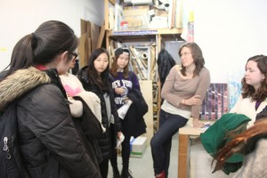 Letha Wilson discusses her life and work in her Brooklyn studio space. photo by Danni Shen