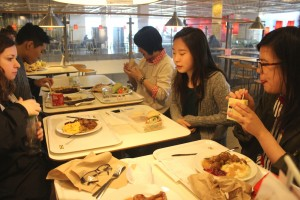 BFA students eating a quick lunch together at Ikea between class field trips. Photo by Danni Shen.