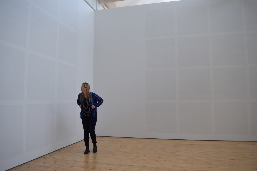 A closer look at walls covered in Sol Lewitt's drawings.