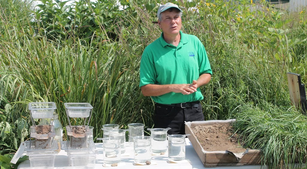 USDA NRCS Plant Materials Specialist Paul Salon spearheaded development of the new Soil Health Seminar Center for the August 11-13, 2015 Empire Farm Days in Seneca Falls, NY. The Center will feature two speakers and a farmer panel each day plus cover plot demonstrations, a rainfall simulator, interseeder, and more.