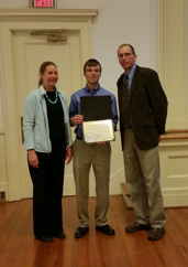 NYSABA Seed Committee Chair John Uveges (right) and Cornell's Margaret Smith present Andrew Lefever with the 2015 NYSABA Seed Committee Outstanding Undergraduate Award.