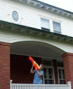 Super-soakers, a hose, a broomstick, a shop-vac — you get the idea. Photo credit K. English