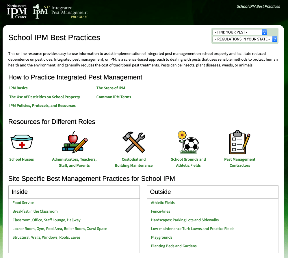 photo shows a screen shot of the front page of the school best management practices website