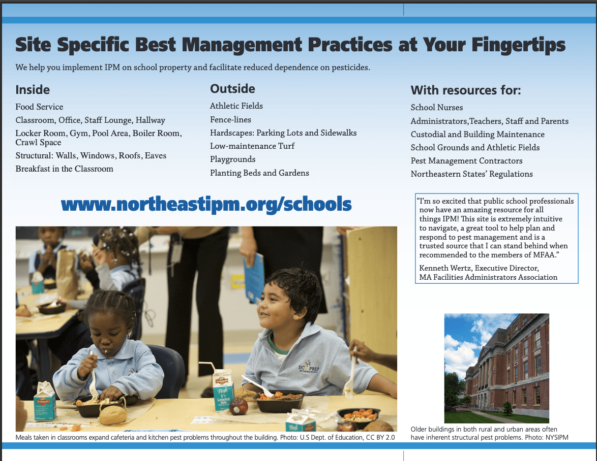 Back of new brochure advertising the changes to the Best management practices for schools website