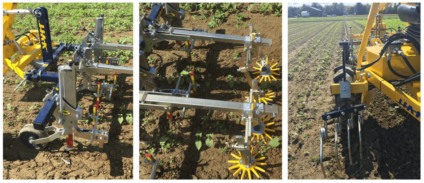 image is three images side by side showing three angles of a cultivator pulled behind the tractor