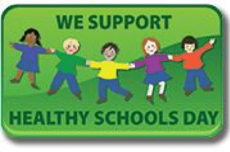 green cartoon banner saying we support healthy schools day