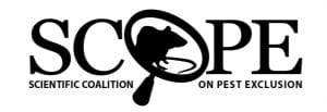 Logo of the Scientific Coalition on Pest Exclusion. The letter O is made to look like a magnifying glass, with a silhouette of a rat inside the O.