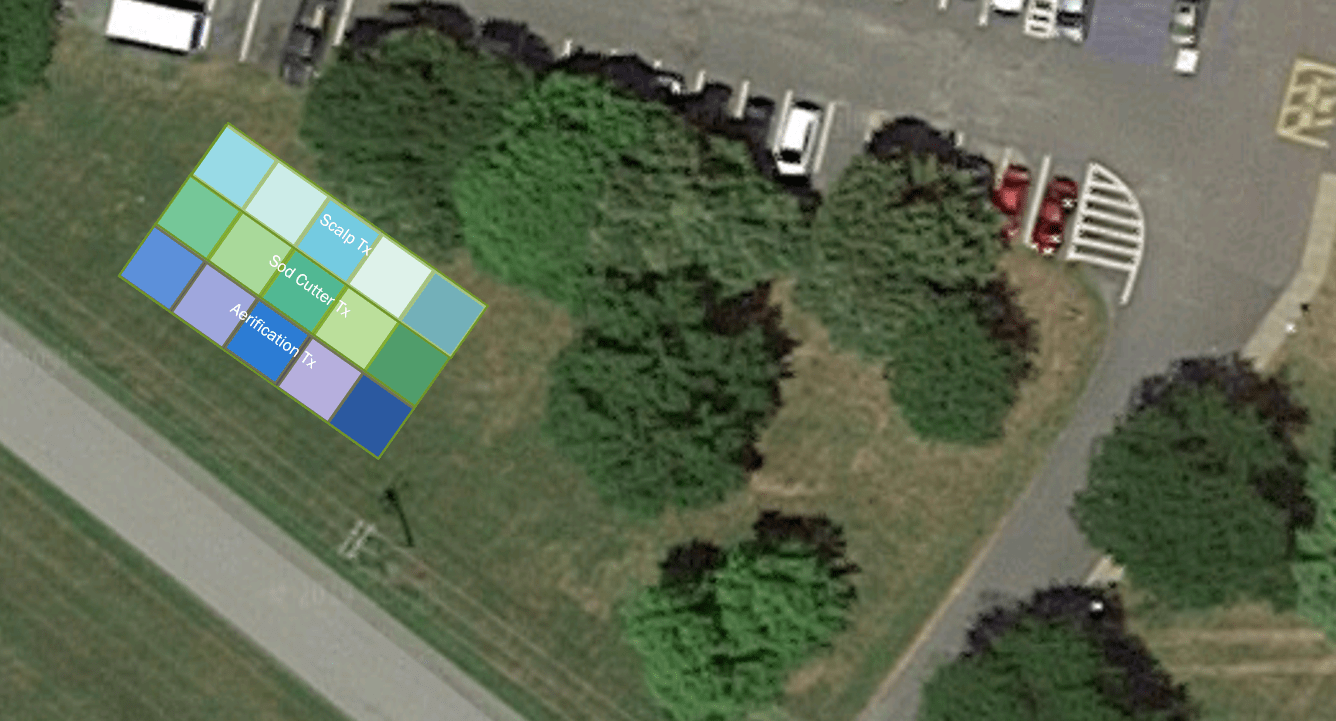 Three rows of five plots are shown against a satellite view of CCE Albany. The first row was scalped, the second was cut with a sod cutter, and the third was aerified.