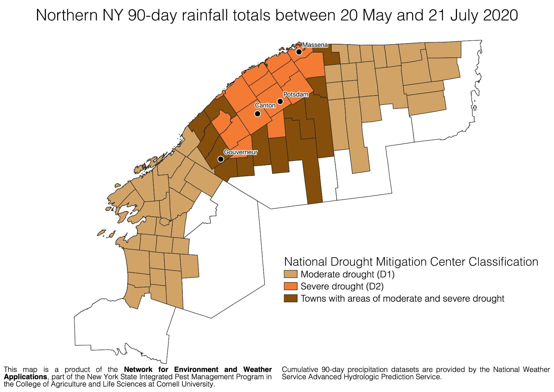 Towns in northern New York experiencing moderate to severe drought conditions according to the National Drought Mitigation Center as of 21 July 2020.