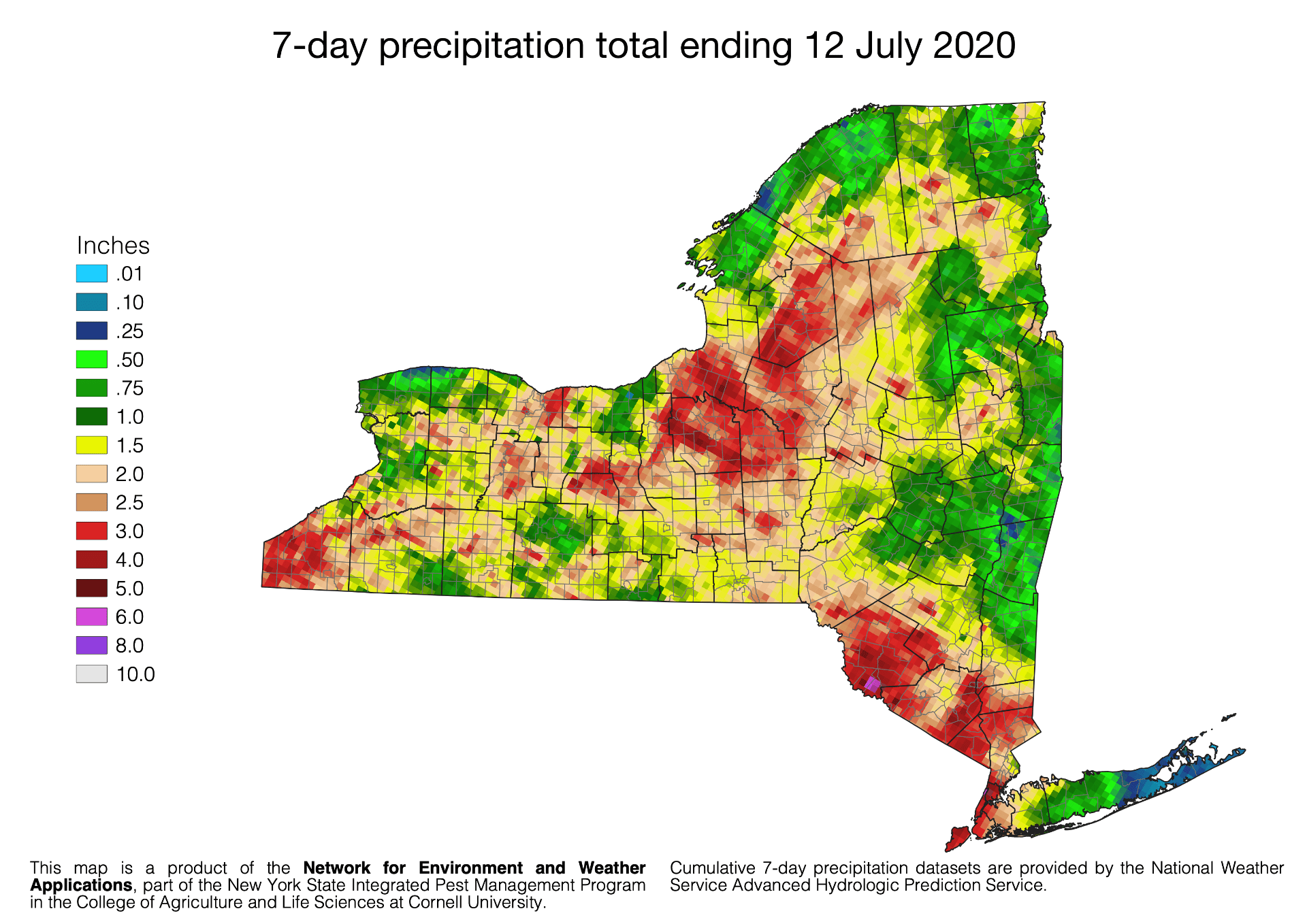 7-day rainfall totals for New York State as of 12 July 2020. Data provided by the National Weather Service Advance Hyrologic Prediction Service.