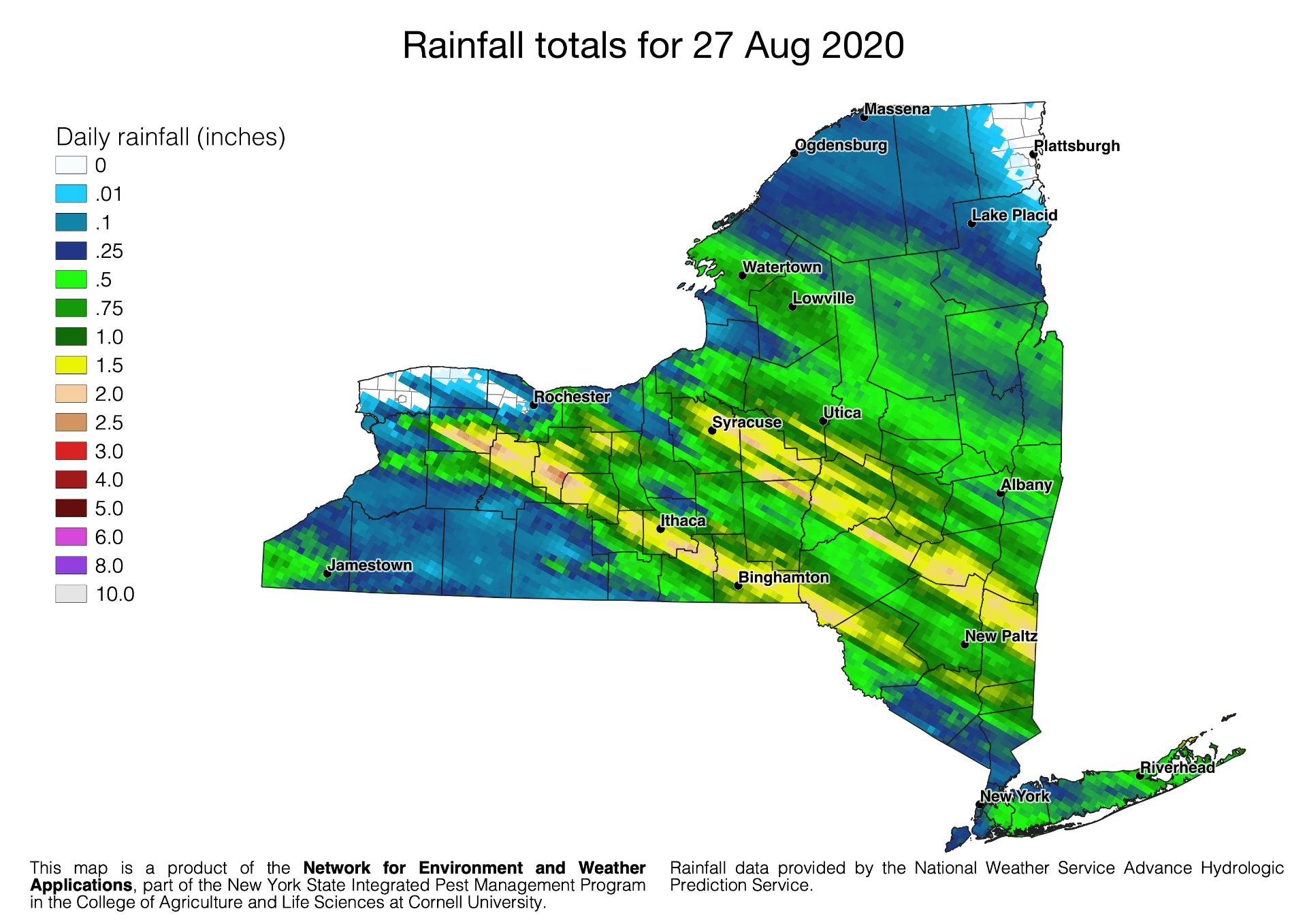Map image of 27 Aug 2020 rainfall totals.