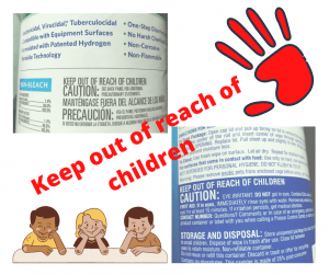 graphic shows portions of two labels of common cleaning wipes with a note to keep out of reach of children