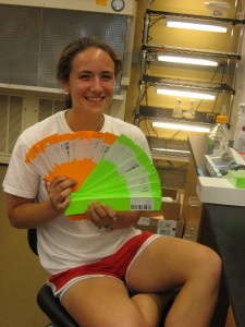 Sara, another undergrad, fanning out our row bands!