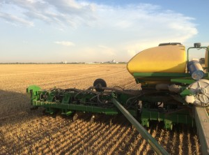Seeding Sorghum into Tricale stubble.