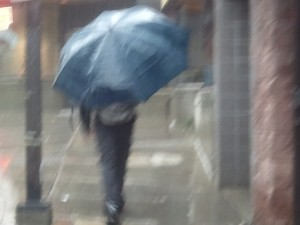 Although it is a little grainy and hard to tell, this umbrella was HUGE. I don't know if I have ever seen one this big.